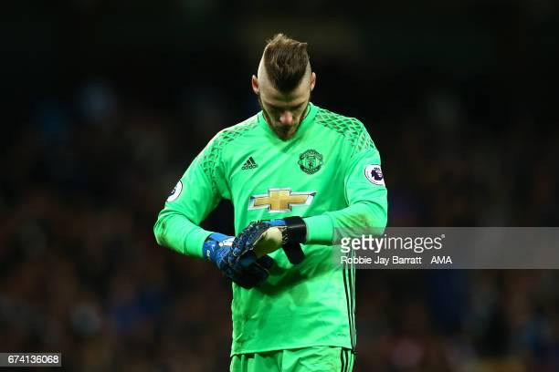 David De Gea of Manchester United reacts at the end of the Premier League match between Manchester City and Manchester United at Etihad Stadium on...