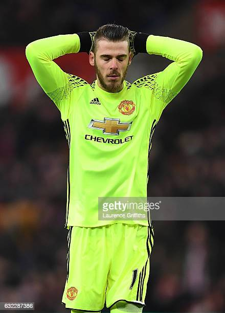 David De Gea of Manchester United reacts during the Premier League match between Stoke City and Manchester United at Bet365 Stadium on January 21...