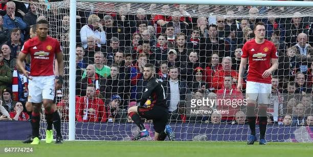 David de Gea of Manchester United reacts to conceding a penalty to Joshua King of AFC Bournemouth during the Premier League match between Manchester...