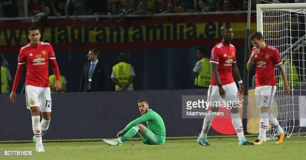 David de Gea of Manchester United reacts to Isco of Real Madrid scoring their second goal during the UEFA Super Cup match between Real Madrid and...
