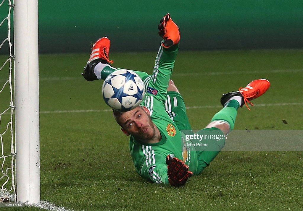 David De Gea of Manchester United saves a penalty during the UEFA Champions League Group B match between CSKA Moskva and Manchester United at Arena Khimki on October 21, 2015 in Moscow, Russia.