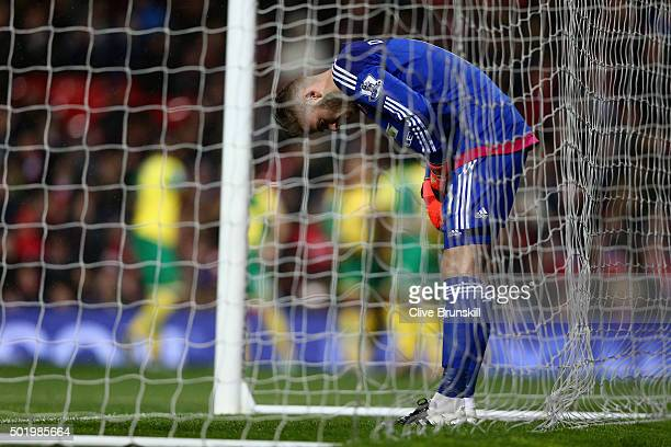 David De Gea of Manchester United shows his dejection after allowing Norwich City's second goal during the Barclays Premier League match between...