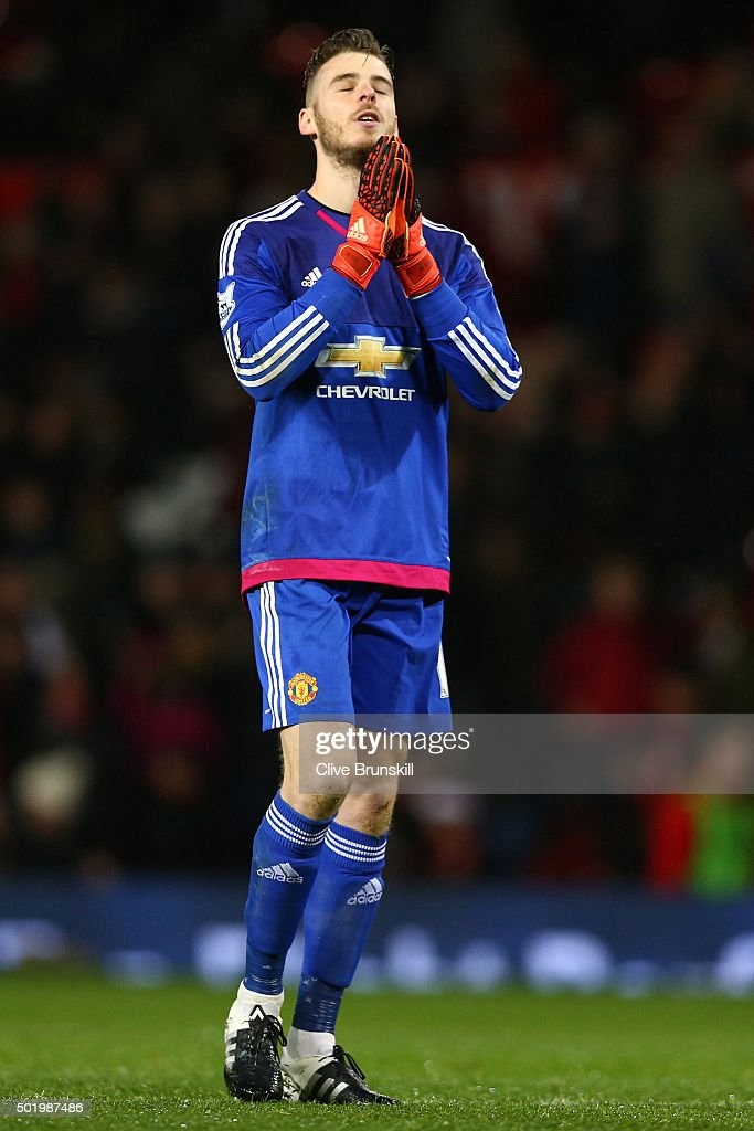 David De Gea of Manchester United shows his dejection after the 1-2 defeat in the Barclays Premier League match between Manchester United and Norwich City at Old Trafford on December 19, 2015 in Manchester, England.