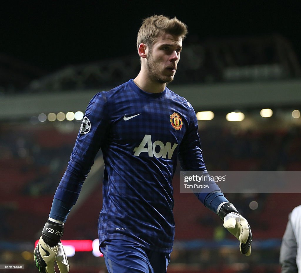 David de Gea of Manchester United shows his disappointment after the UEFA Champions League Group H match between Manchester United and CFR 1907 Cluj at Old Trafford on December 5, 2012 in Manchester, England.