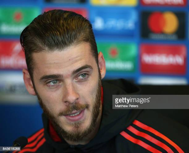 David de Gea of Manchester United speaks during a press conference at Aon Training Complex on September 11 2017 in Manchester England