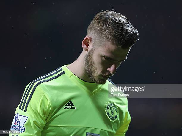 David de Gea of Manchester United walks off after the Barclays Premier League match between Manchester United and Jose Fonte at Old Trafford on...