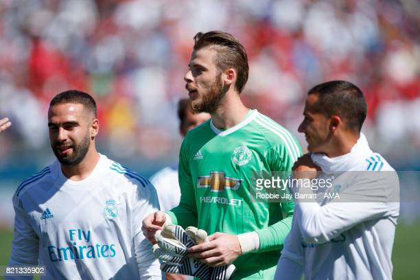 David de Gea of Manchester United walks off with Dani Carvajal of Real Madrid and Lucas Vazquez at full time during the International Champions Cup...