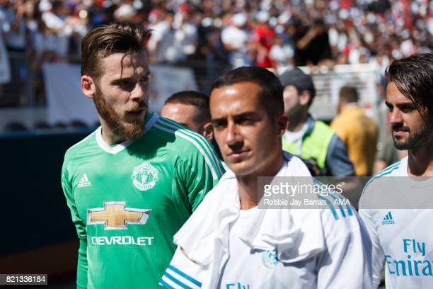 David de Gea of Manchester United walks off with Lucas Vazquez of Real Madrid at full time during the International Champions Cup 2017 match between...