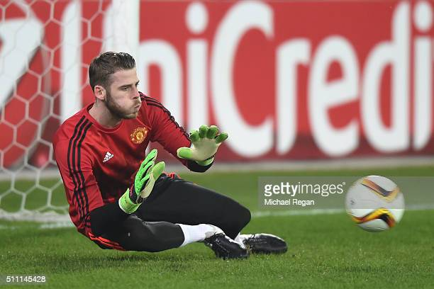 David De Gea of Manchester United warms up prior to the UEFA Europa League round of 32 first leg match between FC Midtjylland and Manchester United...
