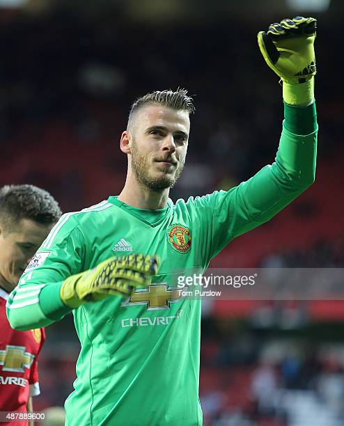 David de Gea of Manchester United waves to the crowd after the Barclays Premier League match between Manchester United and Liverpool on September 12...