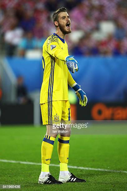 David de Gea of Spain gestures during the UEFA EURO 2016 Group D match between Croatia and Spain at Stade Matmut Atlantique on June 21 2016 in...