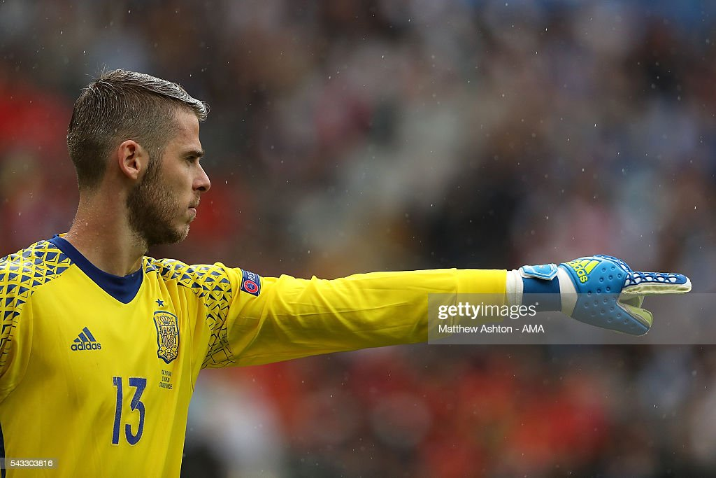 <a gi-track='captionPersonalityLinkClicked' href=/galleries/search?phrase=David+de+Gea&family=editorial&specificpeople=3000749 ng-click='$event.stopPropagation()'>David de Gea</a> of Spain gestures during the UEFA Euro 2016 Round of 16 match between Italy and Spain at Stade de France on June 27, 2016 in Paris, France.