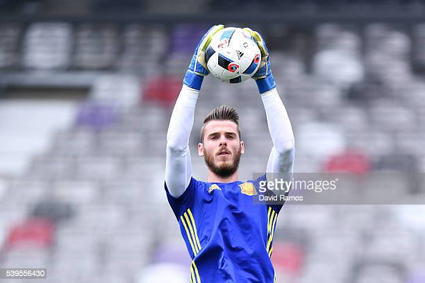 David de Gea of Spain in action during a training session ahead of their UEFA Euro 2016 Group D match at the Stadium Municipal on June 11 2016 in...