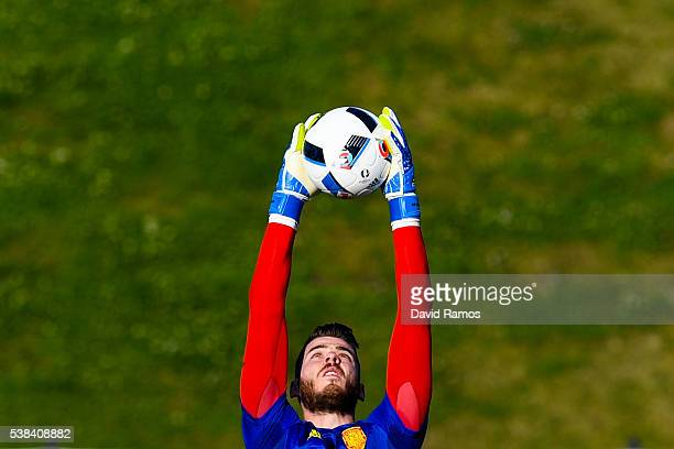 David de Gea of Spain in action during a training session at La Ciudad del Futbol de las Rozas on June 6 2016 in Madrid Spain