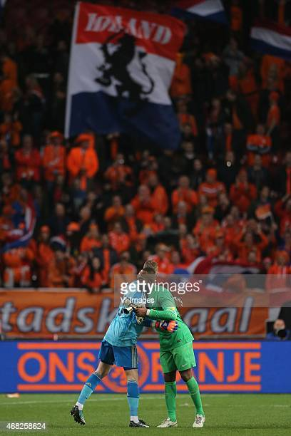 David de Gea of Spain Kenneth Vermeer of Holland during the International friendly match between Netherlands and Spain on March 31 2015 at the...