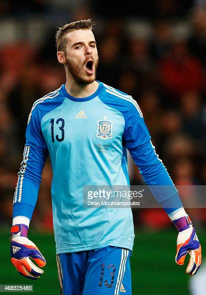 David De Gea of Spain looks on during the international friendly match between the Netherlands and Spain held at Amsterdam Arena on March 31 2015 in...
