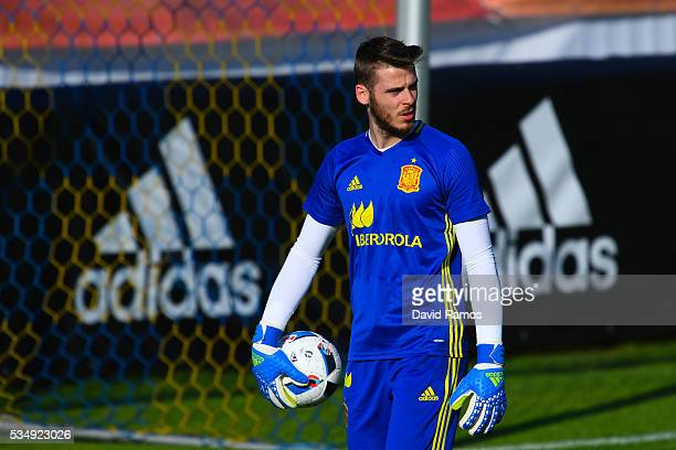 David De Gea of Spain looks on during training session on May 28 2016 in Schruns Austria