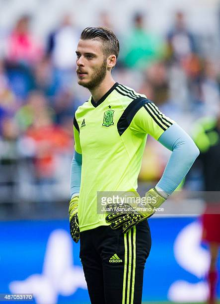 David De Gea of Spain looks on prior to the start the Spain v Slovakia EURO 2016 Qualifier at Carlos Tartiere on September 5 2015 in Oviedo Spain