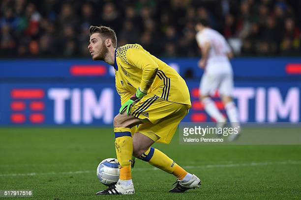 David De Gea Quintana of Spain in action during the international friendly match between Italy and Spain at Stadio Friuli on March 24 2016 in Udine...