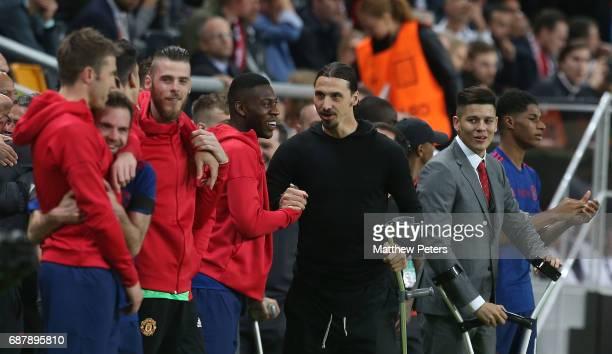 David de Gea Timothy FosuMensah and Zlatan Ibrahimovic of Manchester United celebrates after the UEFA Europa League Final match between Manchester...