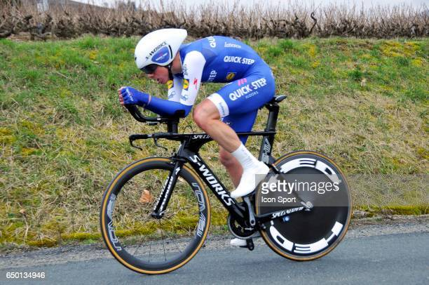 David De La Cruz of Quick Step Floors on stage 4 of the 2017 Paris Nice a time trial stage from Beaujeu to Mont Brouilly on March 8 2017 in Mont...