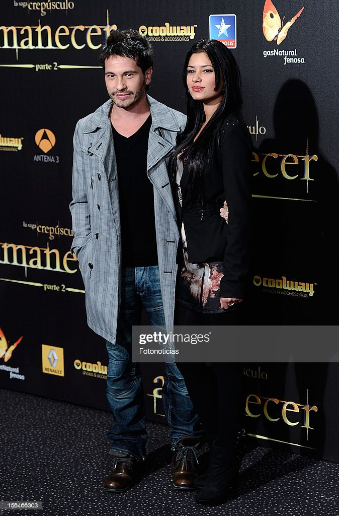 David de Maria (L) and guest attend the premiere of 'The Twilight Saga: Breaking Dawn - Part 2' (La Saga Crepusculo: Amanecer- Parte 2) at kinepolis Cinema on November 15, 2012 in Madrid, Spain.