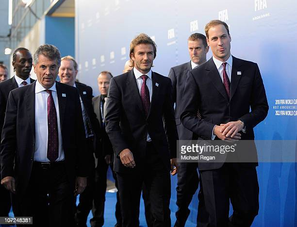David Dean David Beckham and Prince William of the England bid arrive during the FIFA World Cup 2018 2022 Host Announcement on December 2 2010 in...