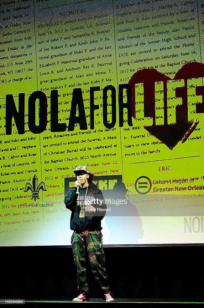 David 'Dee-1' Augustine addresses the audience during the 'Flip the Script' Public Awareness campaign launch at The Joy Theater on October 2, 2012 in New Orleans, Louisiana.