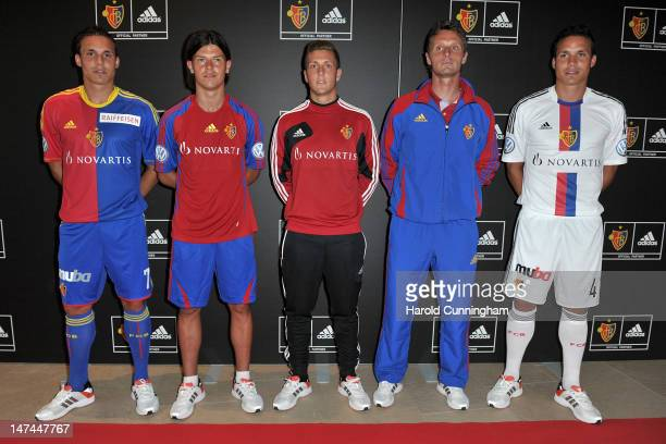 David Degen Darko Jevtic Simon Grether Germano Vailati and Philipp Degen of FC Basel pose during the adidas new FC Basel kit presentation at Novartis...