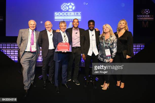 David Dein The FA former ViceChairman poses with a Birthday cake and Tony Martin Soccerex Chairman Mike Phelan Stan Collymore Kolo Toure Rita Revie...