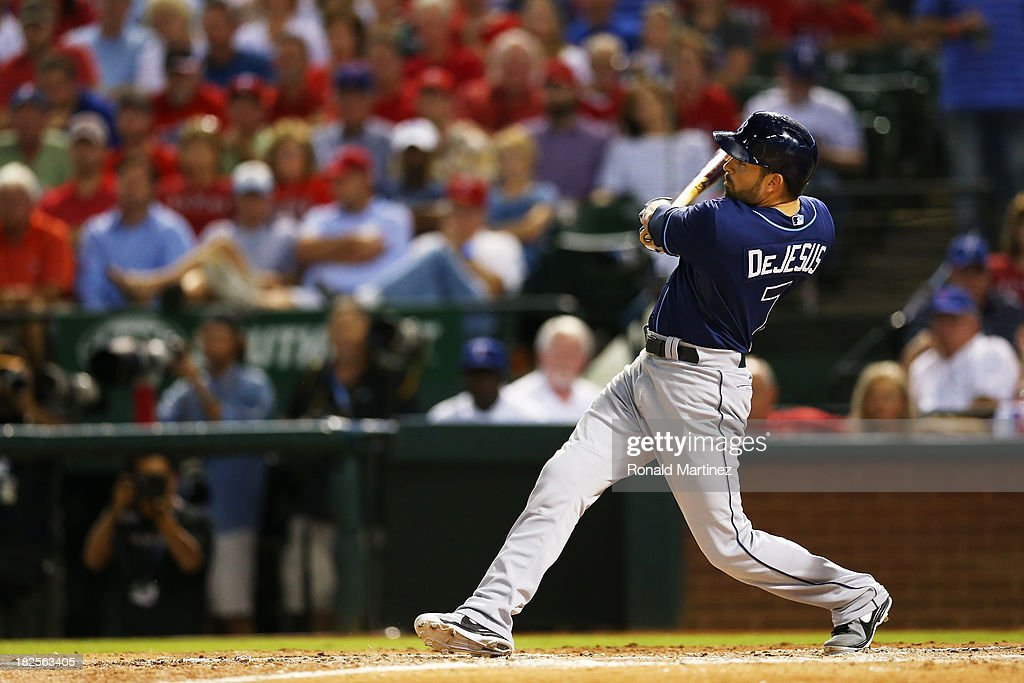 <a gi-track='captionPersonalityLinkClicked' href=/galleries/search?phrase=David+DeJesus&family=editorial&specificpeople=206765 ng-click='$event.stopPropagation()'>David DeJesus</a> #7 hits a sixth inning double to score Evan Longoria #3 of the Tampa Bay Rays during the American League Wild Card tiebreaker game against the Texas Rangers at Rangers Ballpark in Arlington on September 30, 2013 in Arlington, Texas.