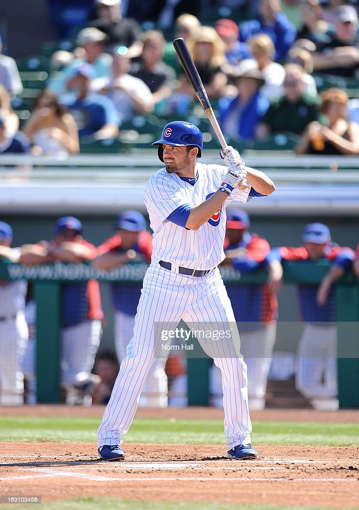 <a gi-track='captionPersonalityLinkClicked' href=/galleries/search?phrase=David+DeJesus&family=editorial&specificpeople=206765 ng-click='$event.stopPropagation()'>David DeJesus</a> #9 of the Chicago Cubs gets ready in the batters box against the Arizona Diamondbacks at HoHoKam Park on March 1, 2013 in Mesa, Arizona.