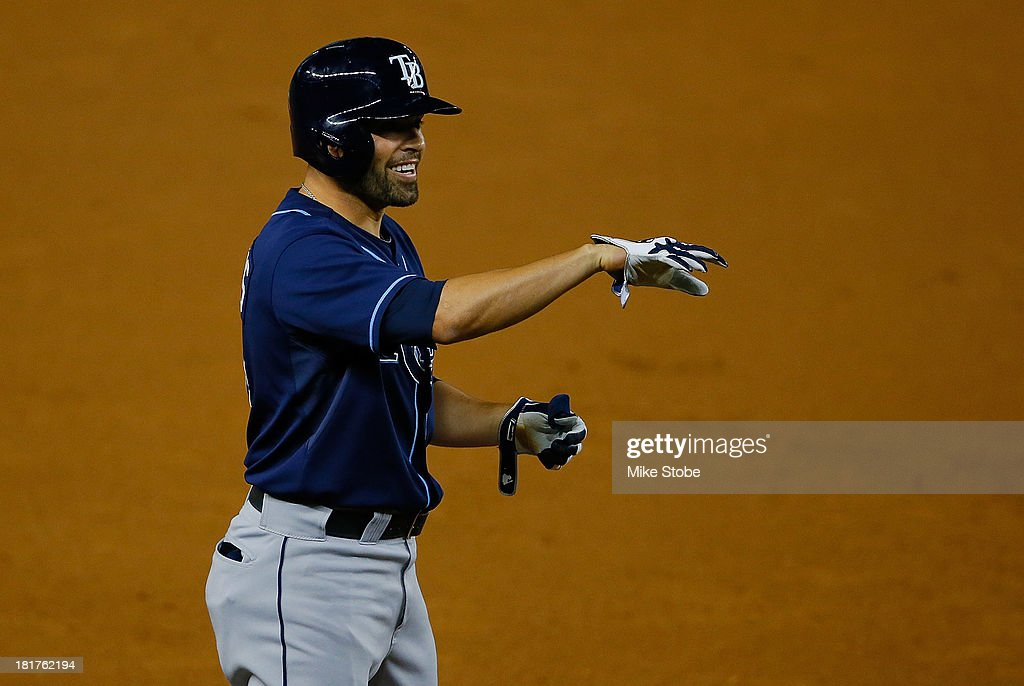 David DeJesus #7 of the Tampa Bay Rays celebrates after hitting an RBI double in the first inning against the New York Yankees at Yankee Stadium on September 24, 2013 in the Bronx borough of New York City. The Rays defeated the Yankees 5-0.
