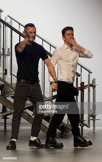 David Delfin and Pelayo Diaz showcase designs by David delfin on the runway at Davidelfin show during Mercedes Benz Fashion Week Madrid Fall/Winter...