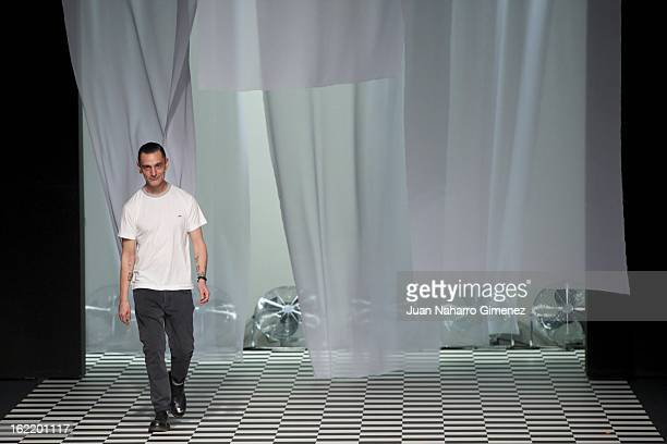 David Delfin on the runway during Mercedes Benz Fashion Week Madrid Fall/Winter 2013/14 at Ifema on February 20 2013 in Madrid Spain
