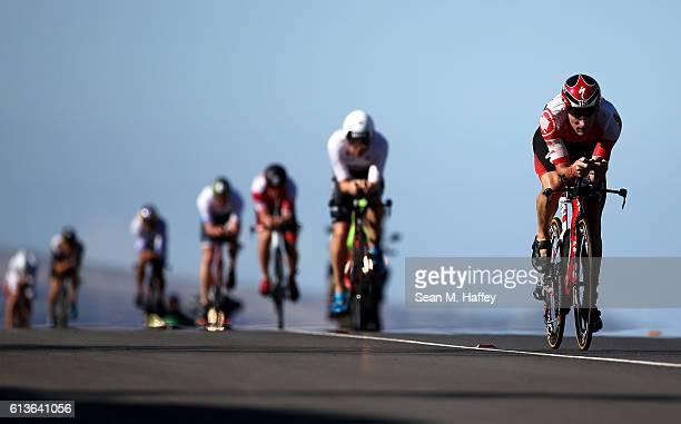 David Dellow of Australia competes in the 2016 IRONMAN World Championship triathlon on October 8 2016 in Kailua Kona Hawaii