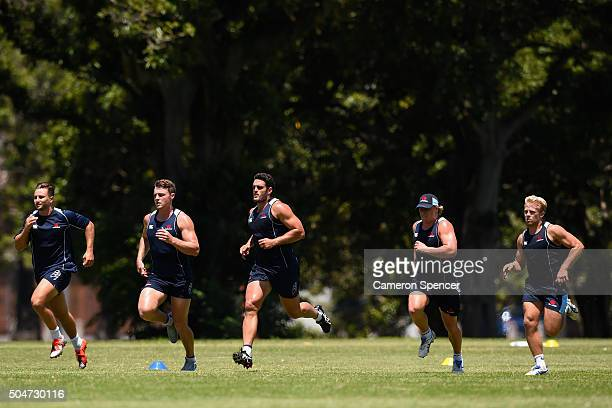 David Dennis of the Waratahs and team mates run during the Waratahs Super Rugby training session at Moore Park on January 13 2016 in Sydney Australia