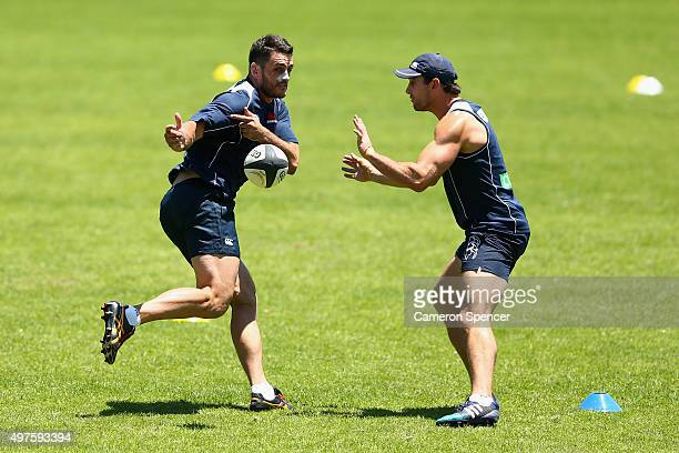 David Dennis of the Waratahs passes during a Waratahs Super Rugby preseason training session at Moore Park on November 18 2015 in Sydney Australia
