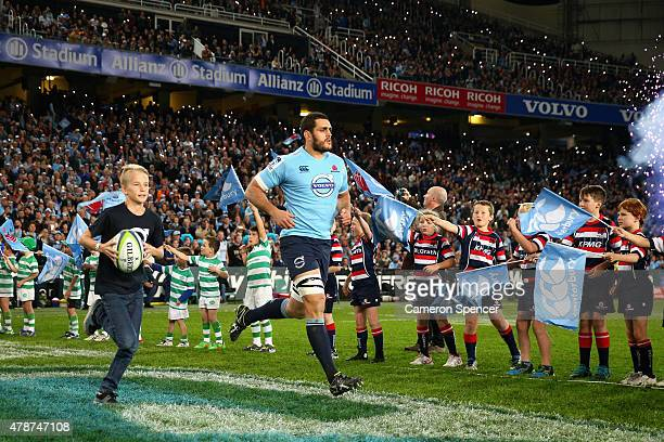 David Dennis of the Waratahs runs onto the field during the Super Rugby Semi Final match between the Waratahs and the Highlanders at Allianz Stadium...
