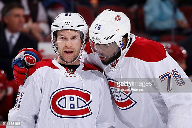 David Desharnais and PK Subban of the Montreal Canadiens talk during the NHL game against the Arizona Coyotes at Gila River Arena on February 15 2016...