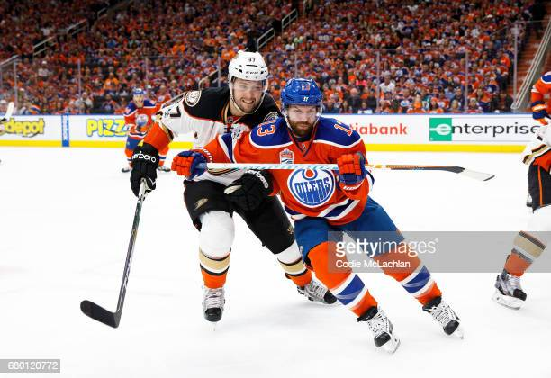 David Desharnais of the Edmonton Oilers battles against Nick Ritchie of the Anaheim Ducks in Game Six of the Western Conference Second Round during...