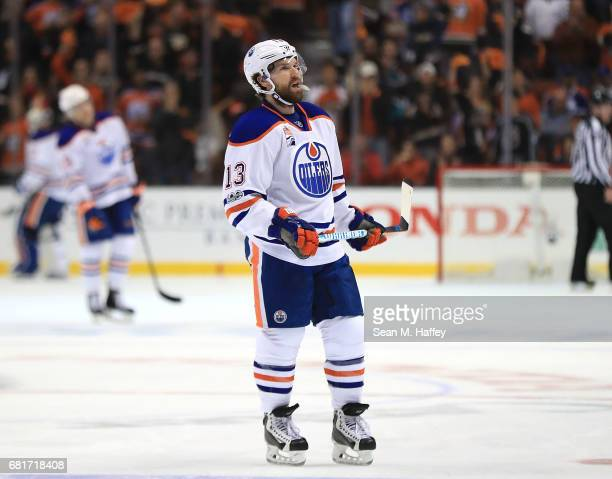 David Desharnais of the Edmonton Oilers reacts against the Anaheim Ducks in Game Seven of the Western Conference Second Round during the 2017 NHL...