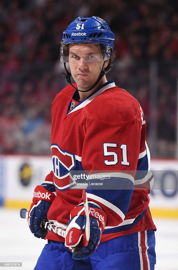 David Desharnais of the Montreal Canadiens against the Colorado Avalanche in the NHL game at the Bell Centre on October 18 2014 in Montreal Quebec...