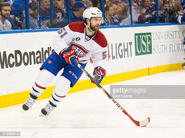 David Desharnais of the Montreal Canadiens against the Tampa Bay Lightning in Game Four of the Eastern Conference Semifinals during the 2015 NHL...