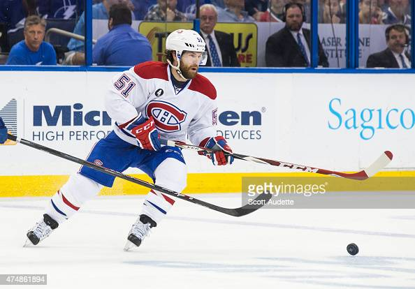 David Desharnais of the Montreal Canadiens against the Tampa Bay Lightning in Game Six of the Eastern Conference Semifinals during the 2015 NHL...