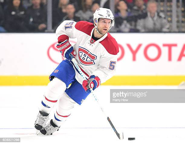 David Desharnais of the Montreal Canadiens carries the puck against the Los Angeles Kings at Staples Center on December 4 2016 in Los Angeles...