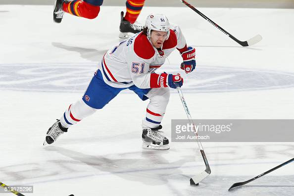 David Desharnais of the Montreal Canadiens carries the puck through center ice against the Florida Panthers during third period action at the BBT...