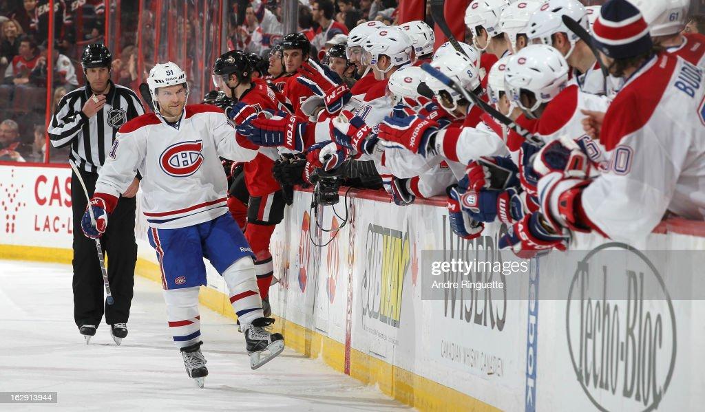 David Desharnais #51 of the Montreal Canadiens celebrates a shootout goal against the Ottawa Senators on February 25, 2013 at Scotiabank Place in Ottawa, Ontario, Canada.