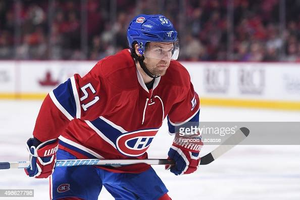 David Desharnais of the Montreal Canadiens during NHL the game against the Arizona Coyotes in the NHL game at the Bell Centre on November 19 2015 in...
