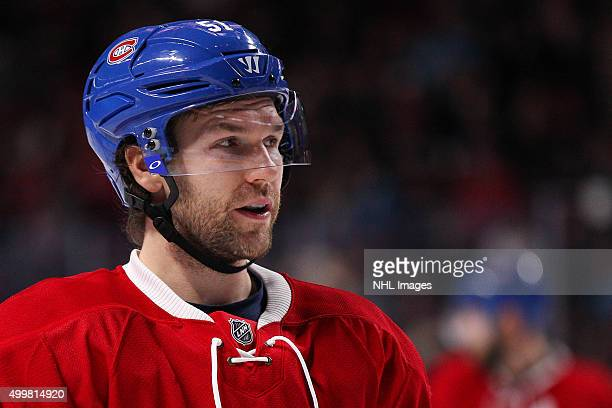 David Desharnais of the Montreal Canadiens looks on in the NHL game against the New York Islanders at the Bell Centre on November 22 2015 in Montreal...